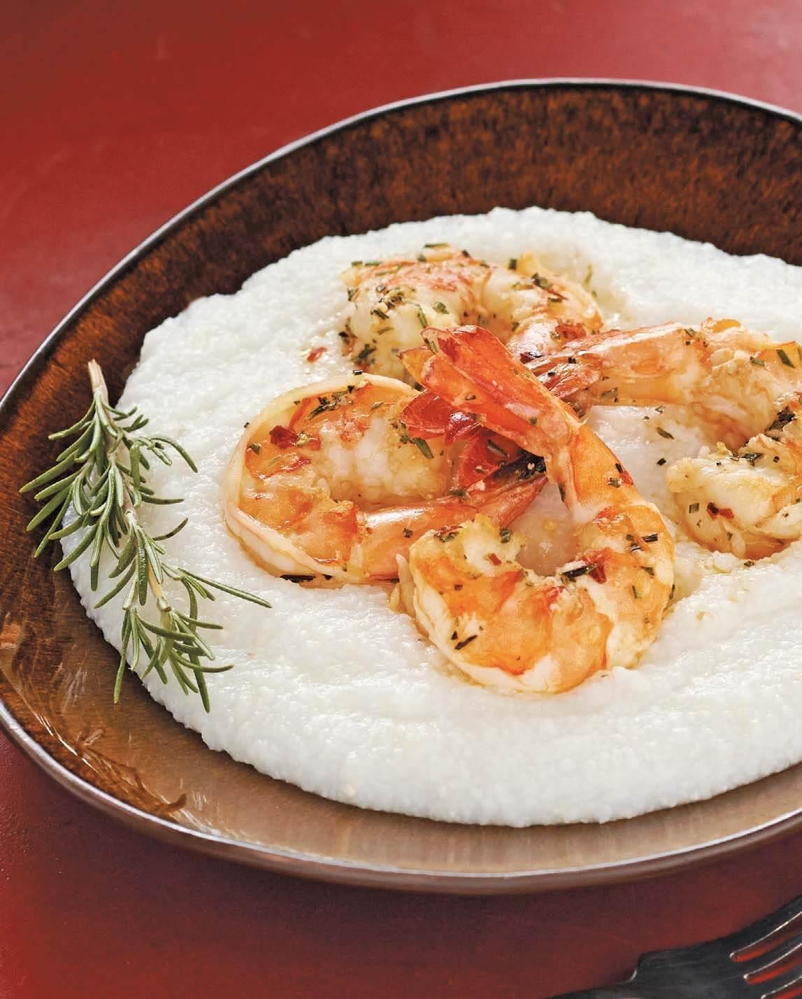 Sizzling Rosemary Shrimp over Polenta/Gamberi al rosmarino con polenta