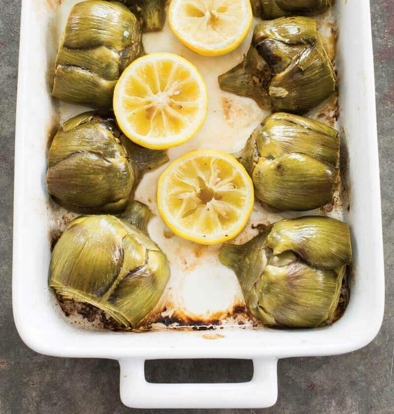 Roasted Artichokes with Lemon Vinaigrette