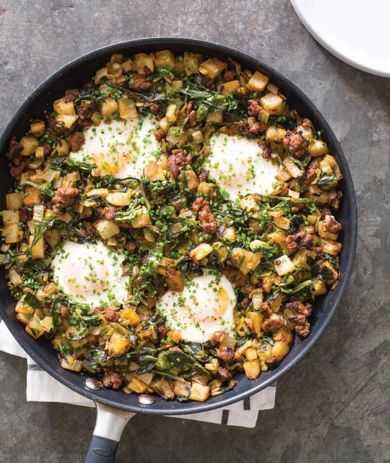 Potato, Swiss Chard, and Lamb Hash with Poached Eggs