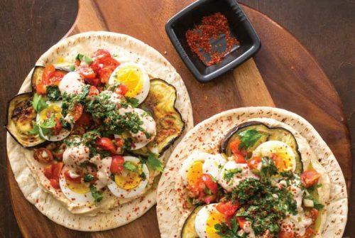 Israeli Eggplant and Egg Sandwiches
