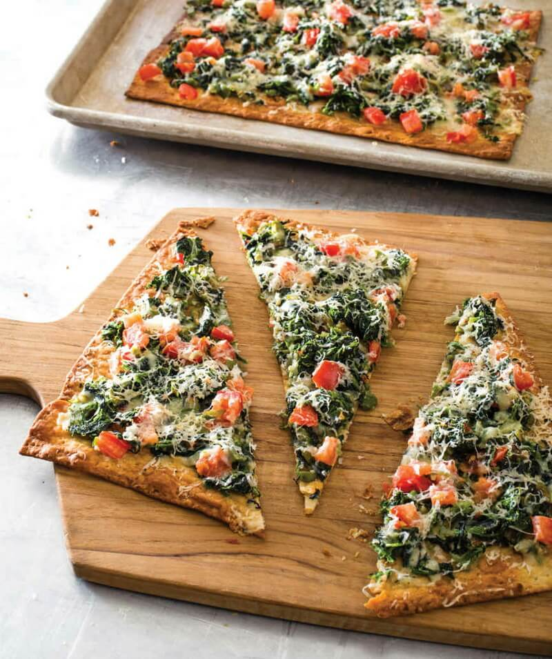 Lavash with Tomatoes, Spinach, and Green Olives