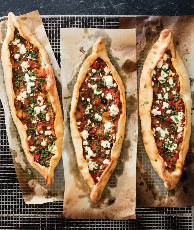 Turkish Pide with Eggplant and Tomatoes