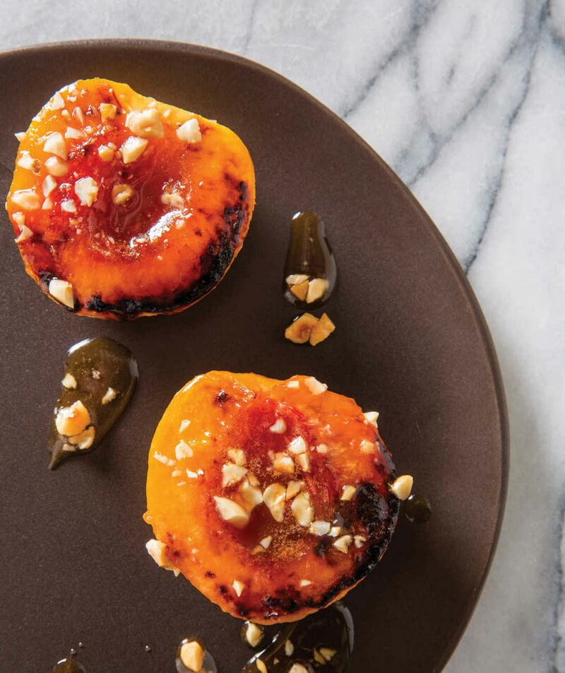 Honey-Glazed Peaches with Hazelnuts
