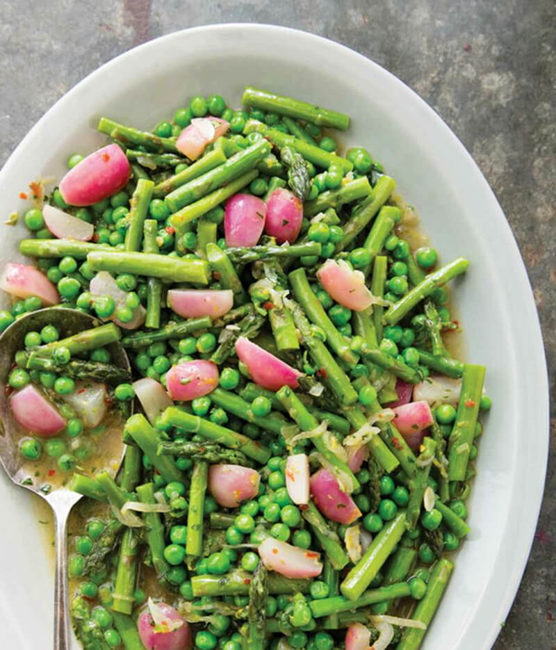 Braised Asparagus, Peas, and Radishes with Tarragon