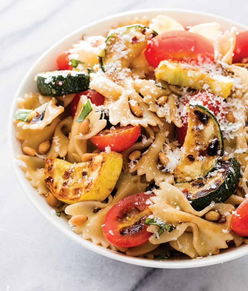 Farfalle with Zucchini, Tomatoes, and Pine Nuts