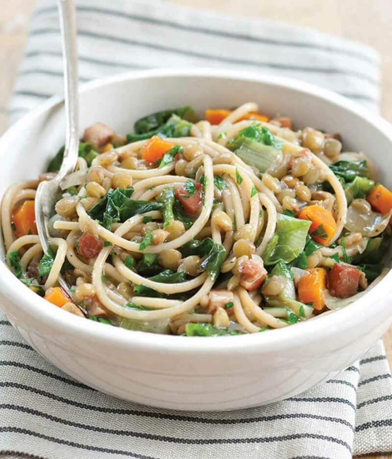Whole-Wheat Spaghetti with Lentils, Pancetta, and Escarole