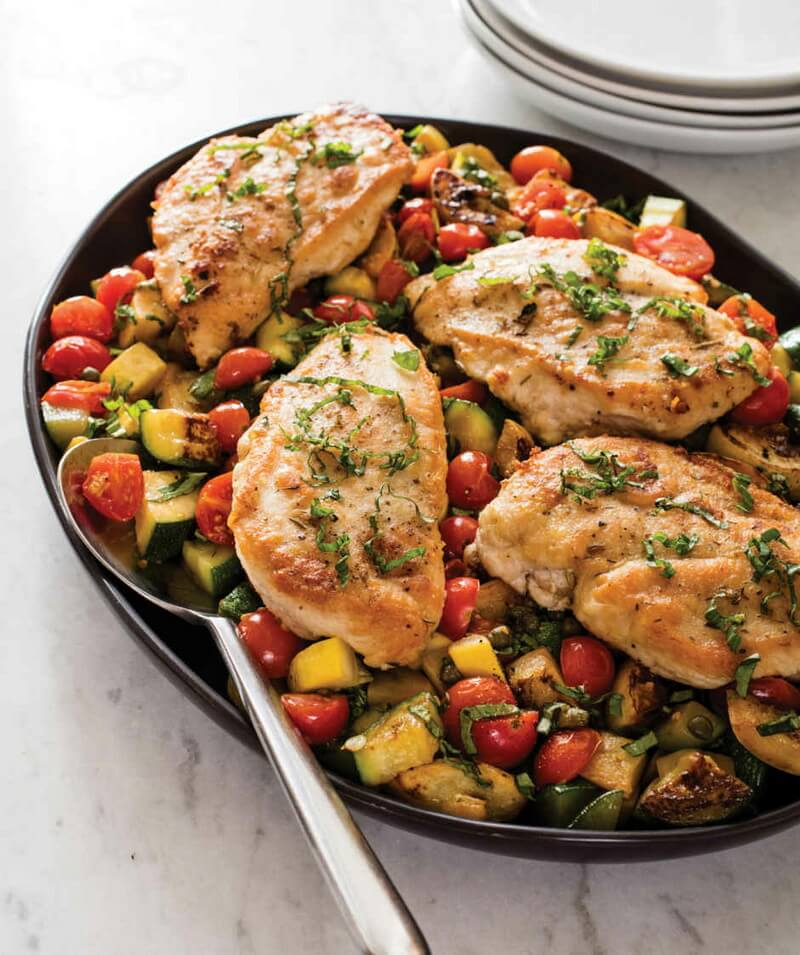 Sautéed Chicken Breasts with Cherry Tomatoes, Zucchini, and Yellow Squash