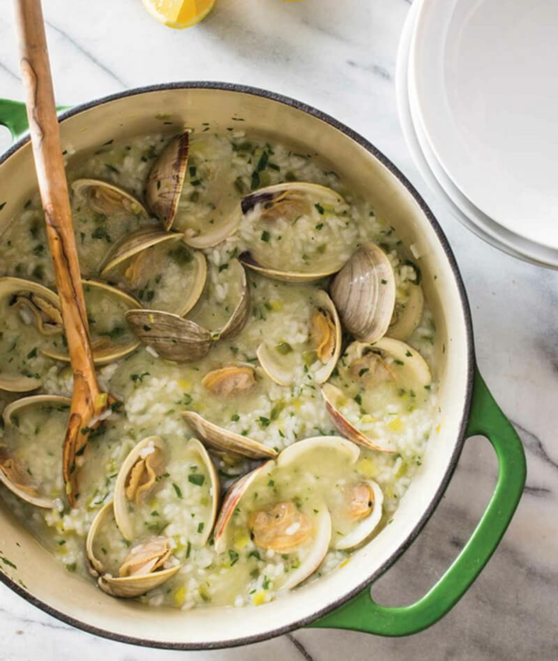 Spanish-Style Brothy Rice with Clams and Salsa Verde