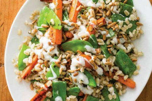 Barley with Roasted Carrots, Snow Peas, and Lemon-Yogurt Sauce