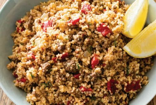 Bulgur with Herbed Lamb and Roasted Red Peppers