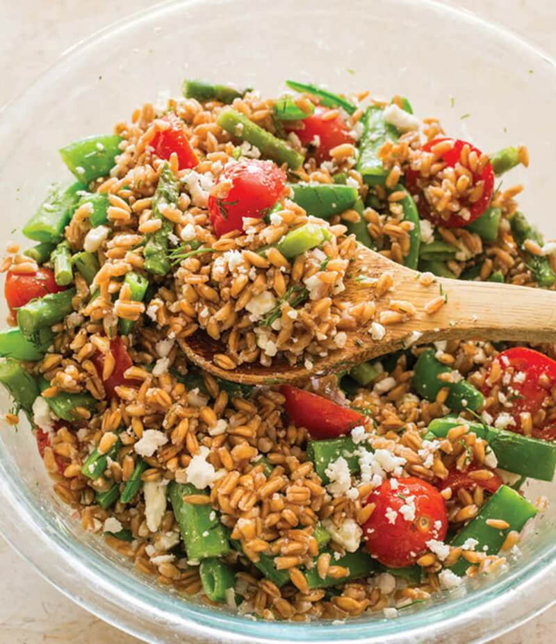 Farro Salad with Asparagus, Snap Peas, and Tomatoes