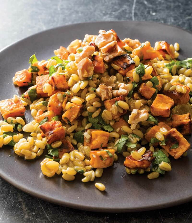 Freekeh Salad with Butternut Squash, Walnuts, and Raisins