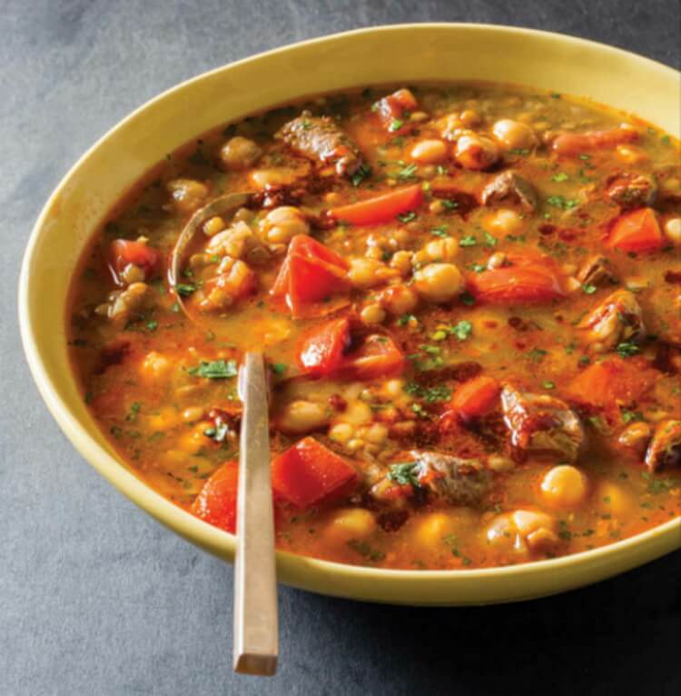 Spicy Moroccan-Style Chicken and Lentil Soup