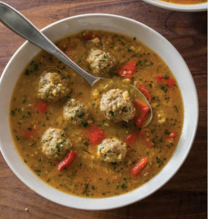 Spanish-Style Meatball Soup with Saffron