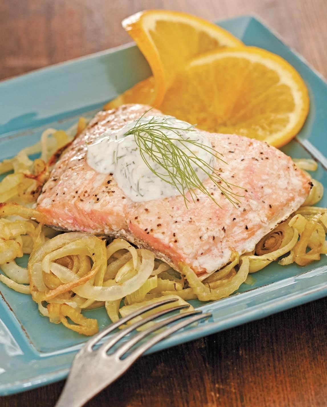 Citrus–Marinated Salmon with Fennel Cream/Salmone agli agrumi con crema di finocchio