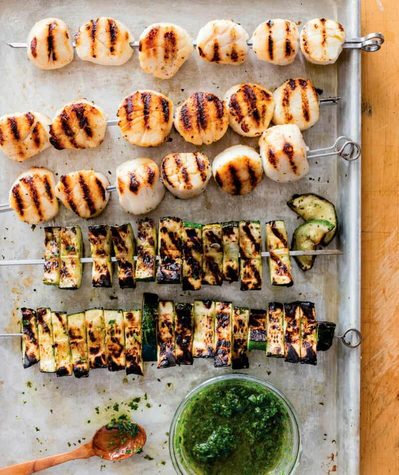 Grilled Scallop and Zucchini Skewers with Basil Vinaigrette